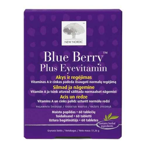 Средство для поддержания зрения New Nordic Blue Berry™ Plus Eyevitamin 60 таблеток (NN-1013)